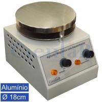 Agitador Magnético  com Aquecimento, Plataforma Alumínio 18cm, 20 litros