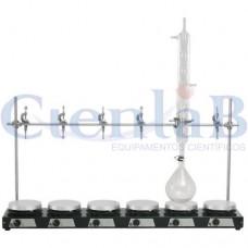 Bateria de Agitador Magnético Sem Aquecimento,  6 provas, 6 litros