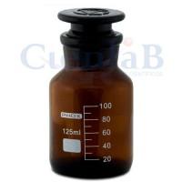 Frasco reagente, com boca esmerilhada, âmbar com rolha de vidro, boca larga,   60ml