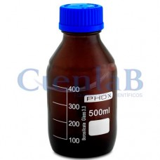 Frasco reagente âmbar com tampa azul anti-gotas - Borossilicato. Capacidade   100ml