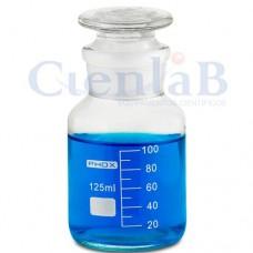 Frasco reagente, com boca esmerilhada, Incolor com rolha de vidro, boca larga,   60ml