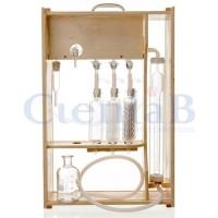 Aparelho de Orsat Completo (ampola, bureta, camisa, frasco, alonga, torneira de vidro),  2 provas