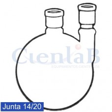Balão fundo redondo com 2 juntas 14/20 Paralelas. Capacidade  10 mL