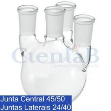 Balão Fundo Redondo com 4 juntas - Junta Central 45/50 e Juntas Laterais Paralelas 24/40. Capacidade  1000 mL